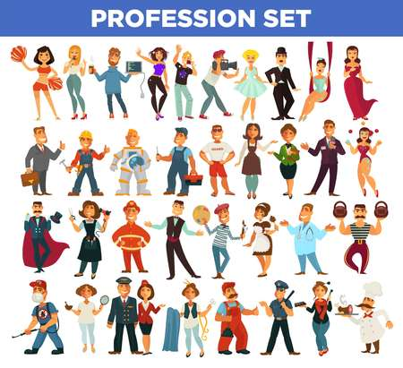 clubber: Professions people different occupations. Service workers manager, photographer of fashion deisgner and docor, builder carpenter or hairdresser and fireman with policeman. Vector isolated flat icons