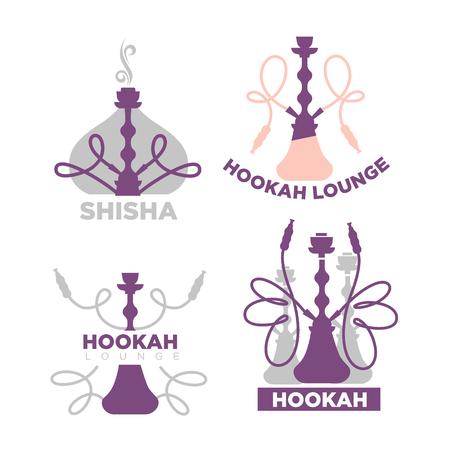 Set of hookah lounge emblems isolated on white. Illustration
