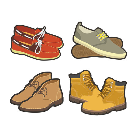winter fashion: Men shoes types or winter and summer footwear. Casual moccasin espadrille, sport sneakers or business boots and rubber clogs. Vector isolated flat icons set