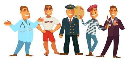 Friendly doctor in robe with stethoscope, beach life guard in sunglasses, brave pilot in uniform, creative painter with palette and journalist in maroon suit with microphone vector illustrations. Illustration