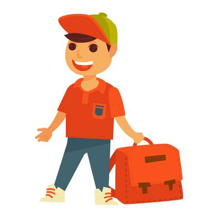 Little cheerful boy in bright orange T-shirt with pocket, blue jeans, modern sneakers and cap holds big square backpack with metal lockers isolated cartoon vector illustration on white background.