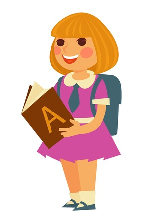big: Cute little blonde schoolgirl in pink dress with small blue tie and big square backpack behind reads textbook with letter A on cover isolated cartoon vector illustration on white background. Illustration