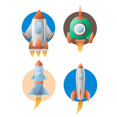 Rockets or spaceship shuttle and satellites flat cartton icons. Vector isolated set of spacecraft or space ship launch with engine fire on startup and porthole window
