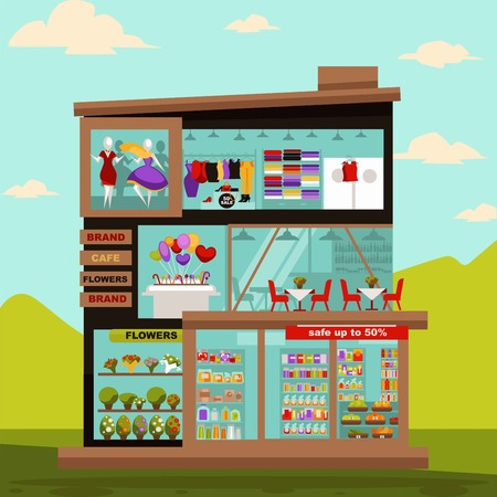 mujer en el supermercado: Tienda o tienda de supermercado edificio plano diseño. Centro de comercio de compras vectorial con escaparate de la tienda de ropa de moda o vestido de maniquí, salón de accesorios para el hogar, restaurante de café y boutique de flores