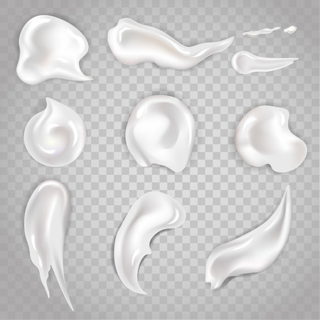 Cream smears and cosmetic blobs vector 3d realistic icons set