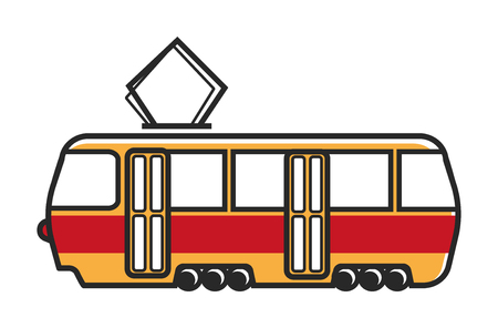 tramcar: Tram wagon with special metal antenna isolated illustration Illustration