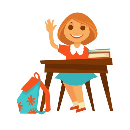 raise hand: Cheerful little girl sits at desk in school