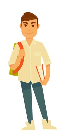 Young handsome student with big rucksack and book Stock Photo