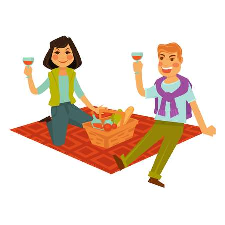 Husband and wife drink beverage and sit on red blanket with basket full of fresh bread, ripe vegetables and sweet soda isolated vector illustration on white background. Married couple out on picnic. Illustration