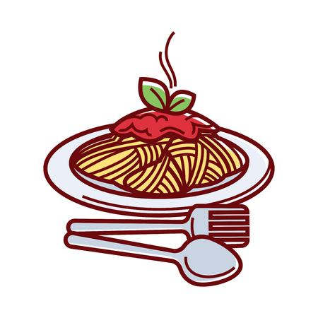 포크와 숟가락 접시에 신선한 토마토 소스와 함께 뜨거운 맛있는 스파게티 흰색 배경에 고립 된 만화 벡터 일러스트 레이 션. 편리한 식사를 위해 칼  일러스트