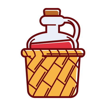 Big glass jug of wine with handle and cork in wicker basket isolated vector illustration on white background. Natural alcohol drink in rural vessel. Homemade beverage with delicious grape taste. Illustration