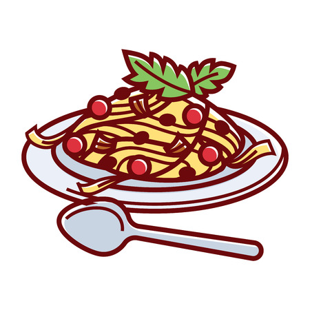 oregano: Paste with delicious Bolognese sauce, ripe tomatoes and fresh herbs on plate with metal spoon isolated cartoon vector illustration on white background. Dish from traditional Italian cuisine. Illustration