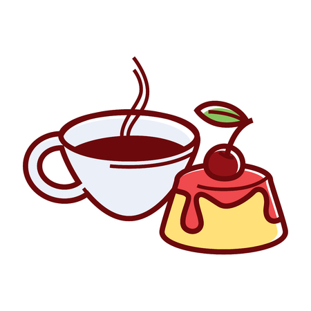 Sweet jelly cake with cherry jam and fresh ripe berry on top and cup of tea isolated cartoon vector illustration on white background. Nice nutritious breakfast with hot beverage and tasty treat.