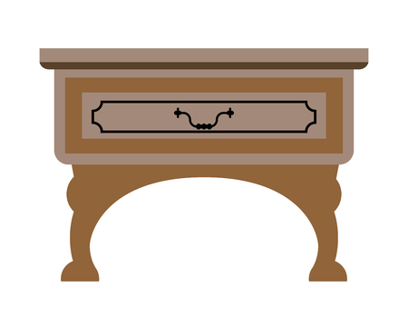Vector illustration of simple wooden table with drawer isolated on white.