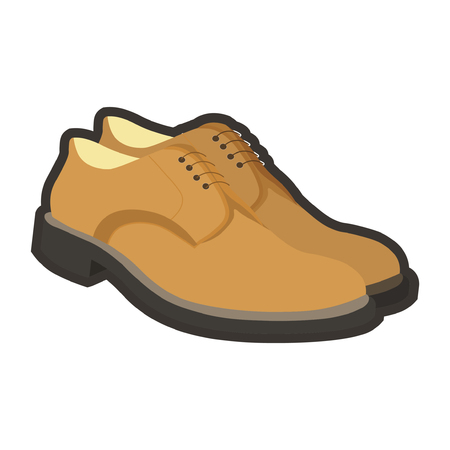 Classic leather beige mens shoes with black sole and thin laces isolated vector illustration on white background. Stylish male footwear for elegant and formal outfits. Footgear of high quality. Illustration