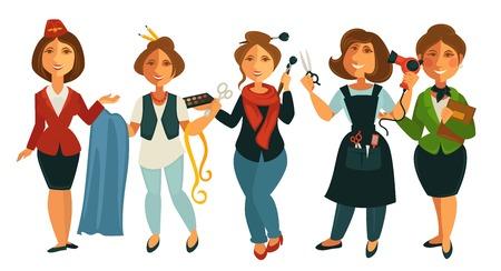 Beroepen mensen van stewardessvrouw, kleermaker-naaister of modeontwerper en make-upstylist, kapper en docent. Vector geïsoleerd plat pictogrammen instellen