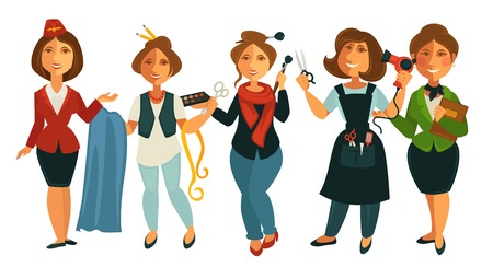 Professions people of stewardess woman, tailor dressmaker or fashion designer and makeup stylist, hairdresser and teacher. Vector isolated flat icons set