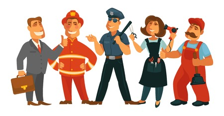 Professions people of policeman guard, businessman or plumber mechanic and hairdresser woman, fireman and office manager man with work tools. Vector isolated flat icons set