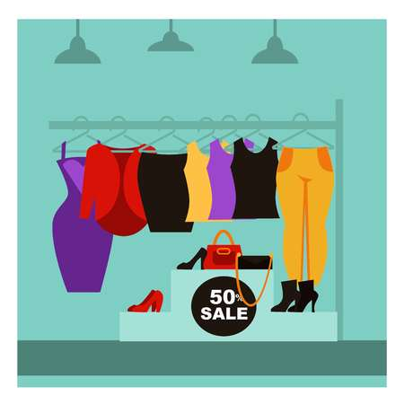store shelf: Fashion clothing shop or woman dress clothes boutique store with shopping sale offer. Vector flat design of showcase shop-window with shoes, bags and shirts on hanger