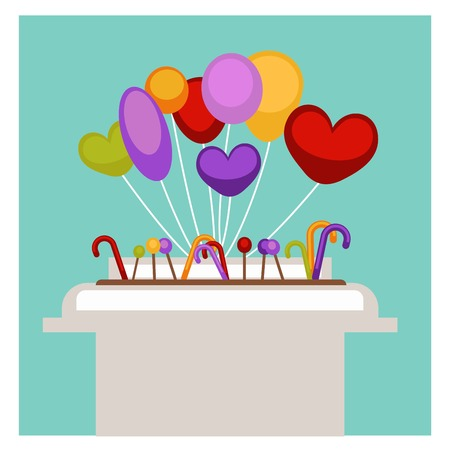 Lollipops candy canes and children air balloons on shop stand in dessert grocery store. Vector flat design for supermarket shopping