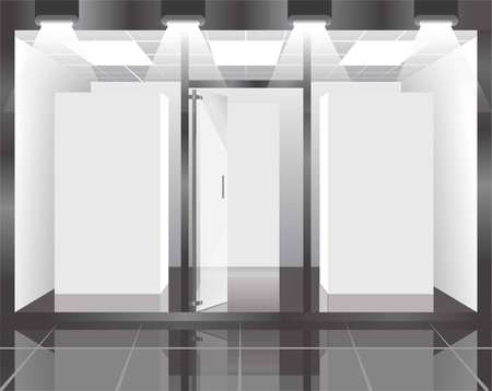 market place: Shop showcase with bright illumination view from inside. Store interior with glossy floor, white walls, glass windows, special partitions, open door and spotlights on ceiling vector illustration. Illustration