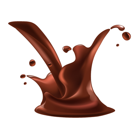 Chocolate splash drops of cacao drink or splashing hot chocolate for product package logo design element. Vector isolated 3d realistic icon on white background Illustration