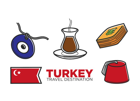 man: Turkey tourist travel and culture famous symbols set. Vector Turkish flag, baklava pastry dessert with tea or coffee, evil eye talisman and traditional man fez hat headwear
