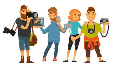 Professions people of photographer reporter or cameraman operator journalist, IT digital specialist and office manager or tourist with smartphone and camera. Vector isolated flat icons set Illustration