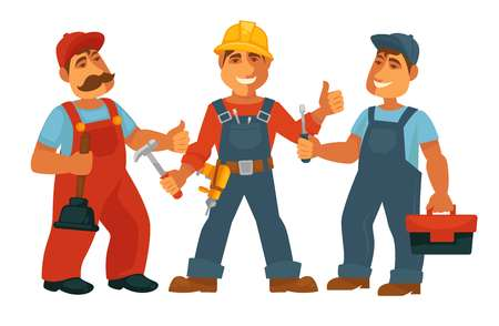 Professions people of car mechanic, constructor or builder and electrician or carpenter and plumber engineer with work tools. Vector isolated flat icons set Illustration