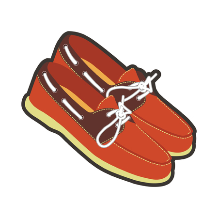Mens leather moccasins with laces and neat stitching Illustration