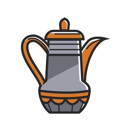 Orange and gray tea pot Illustration