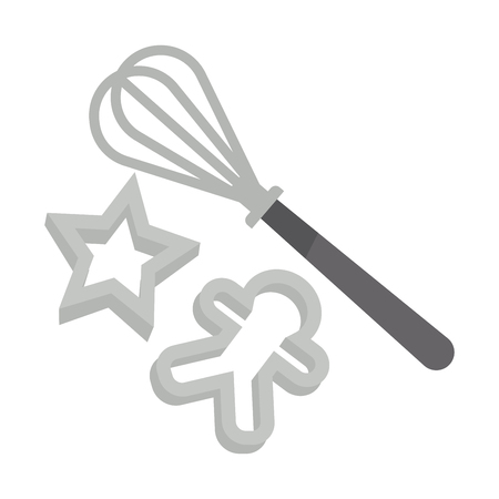 Whisk and cookie shapers Illustration