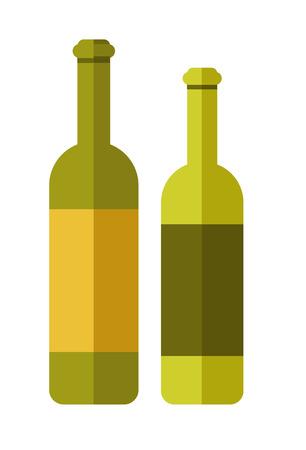 Two green wine bottles Illustration