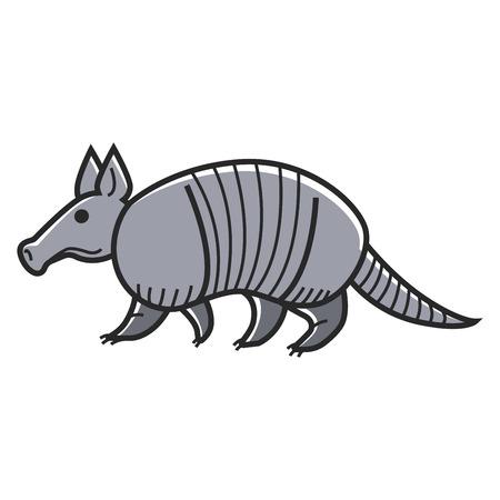 Gray armadillo animal Illustration