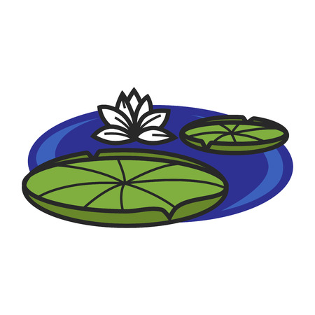 Pond with water lily Illustration