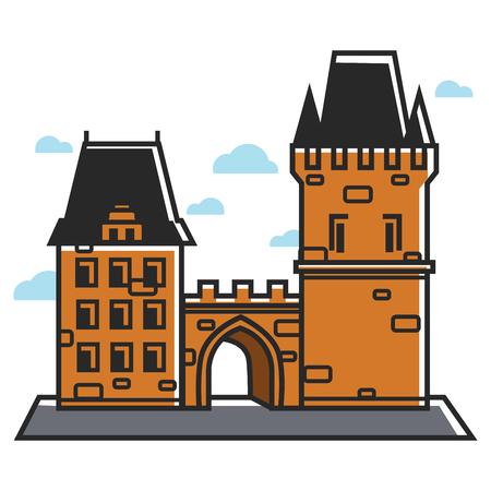 Prague castle Czech travel tourist attractions and famous culture landmark vector icon Çizim