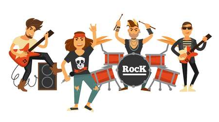 Rock music band singers and musicians with musical instruments vector flat icons