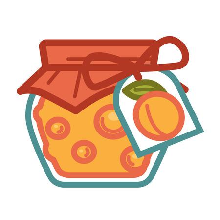Apricot jam in jar Illustration