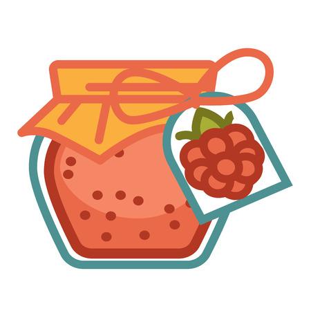 Raspberry marmalade jar Illustration