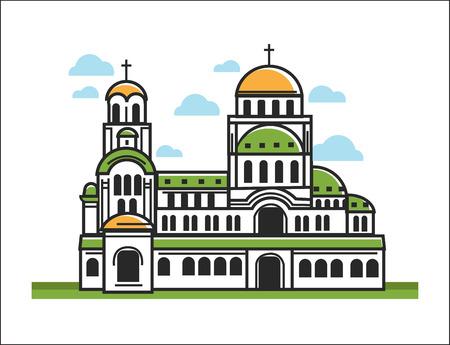 Green Christian church Illustration