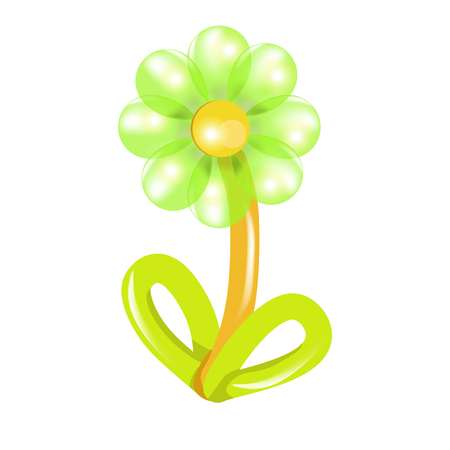 Green and yellow flower balloon