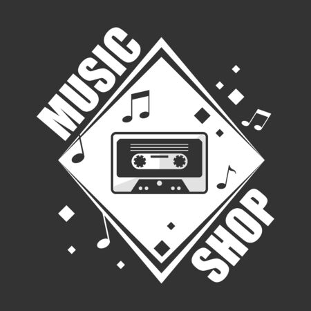 Music shop promotional logotype with retro cassette and notes