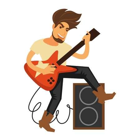 rock guitarist: Rock musician with long hair plays electric guitar