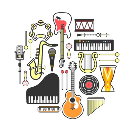 Musical instruments formed in neat circle isolated illustration