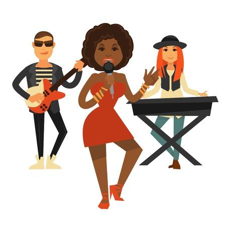 pianista: Cool banda de música realiza canción pop aislado ilustración