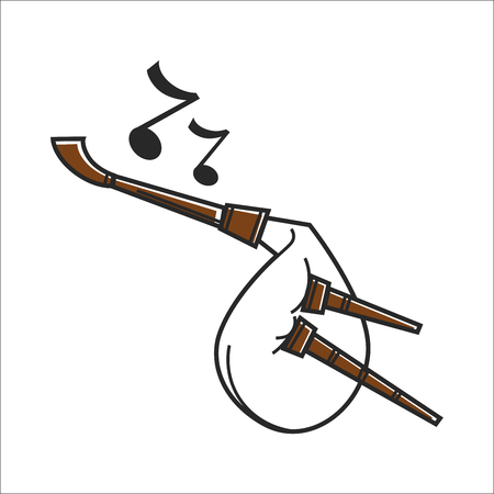 White colored bagpipe