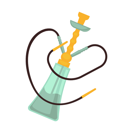 inhalation: Glass hookah with two pipes and golden bowl
