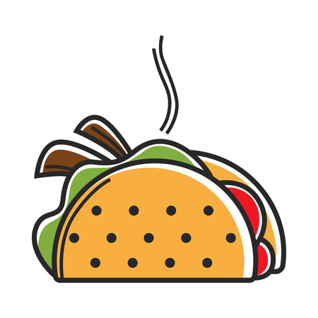 True hot Mexican taco with delicious filling illustration