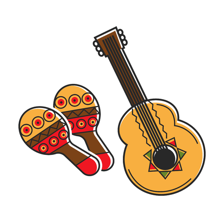 Traditional national Mexican instruments with ethnic pattern isolated illustrations