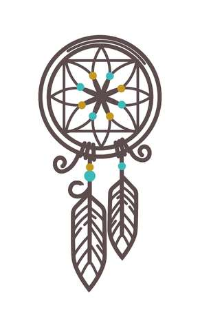 Handmade wicker dreamcatcher with feathers and beads illustration Illustration